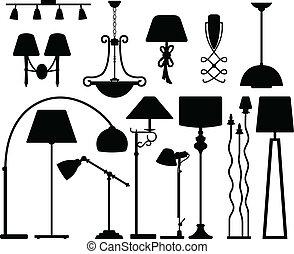 ściana, sufit, projektować, lampa, podłoga