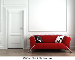 ściana, wewnętrzny, biały czerwony, leżanka