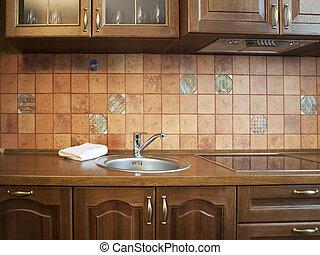ściana, wewnętrzny, dachówki, beżowy, kuchnia