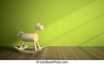 ściana, wewnętrzny, koń, drewno, zielony