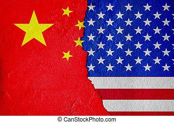 ściany, ameryka, pęknięty, porcelana, ekonomiczny, stany, bandera, malować, media), zjednoczony, (mixed, bitwa