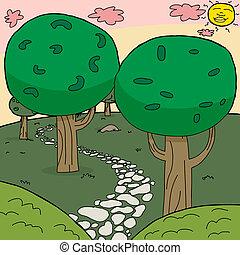 ścieżka, kamień, drewna