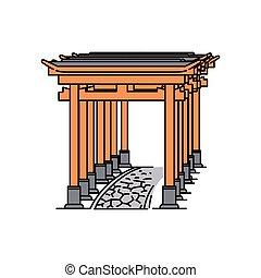 ścieżka, kamień, japończyk, odizolowany, torii brama, biały, hałas, tło