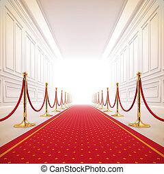 ścieżka, light., czerwony, powodzenie, dywan
