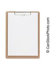 ścieżki, strzyżenie, clipboard, drewniany, odizolowany, tło, included., biały