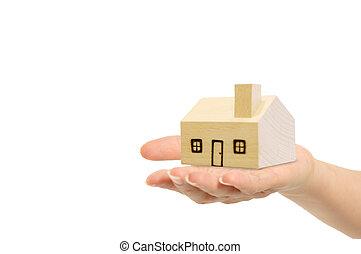 ścieżki, strzyżenie, dom, odizolowany, ręka, tło., included, biały