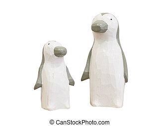 ścieżki, strzyżenie, drewniany, odizolowany, tło., included, biały, lalki, pingwin