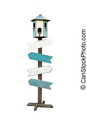 ścieżki, strzyżenie, drewniany, odizolowany, znak, tło, strzała, included., biały