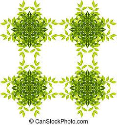 ścieżki, strzyżenie, liść modelują, odizolowany, tło., zielony, included., biały