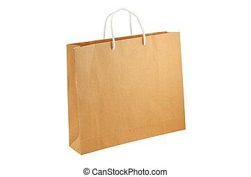 ścieżki, strzyżenie, zakupy, odizolowany, torba, tło, included., biały, opróżniać
