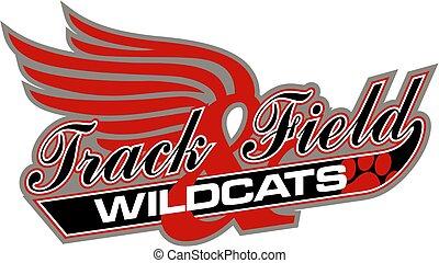 ślad, pole, wildcats, &