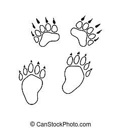 ślady, niedźwiedź, ikona