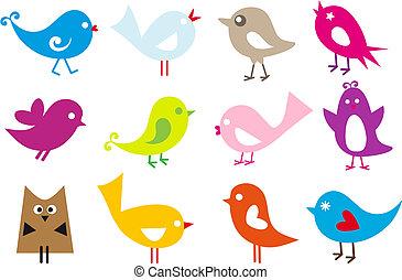 śliczny, ptaszki