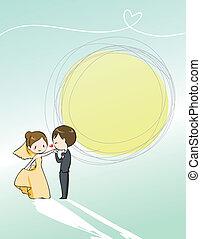 ślub, śliczny, zaproszenie