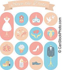 ślub, 2, komplet, okrągły, ikony