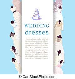 ślub, fason, zaopatrywać, strój, wektor, stroje, sklep, wesele, afisz, illustration.
