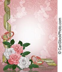 ślub, róże, zaproszenie, brzeg