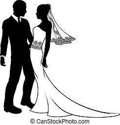 ślub, sylwetka, panna młoda, szambelan królewski, para