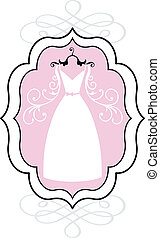 ślub, wektor, strój, ułożyć
