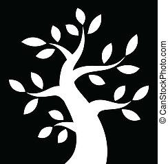 śmiały, drzewo, tło, czarnoskóry, biały, ikona