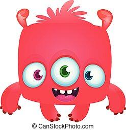 śmiech, ilustracja, halloween, potwór, wektor, zabawny, eyes., rysunek, trzy