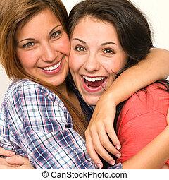 śmiech, siostry, obejmowanie, aparat fotograficzny, kaukaski