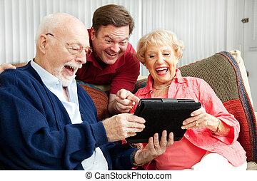 śmiechy, tabliczka, używa, rodzina, pc