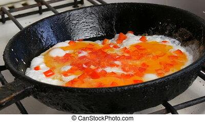 śniadanie, słodki, rondel, pieprz, smażył, rano, jaja, paprika.