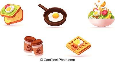 śniadanie, wektor, komplet, ikona