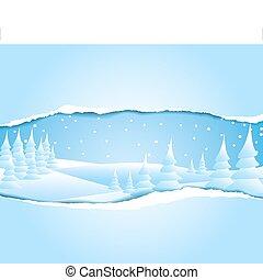 śnieżny, zima krajobraz, mroźny
