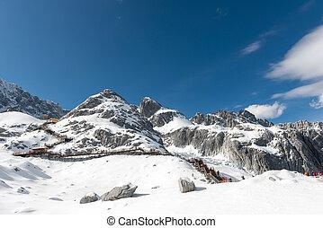 śnieg, góry, capped