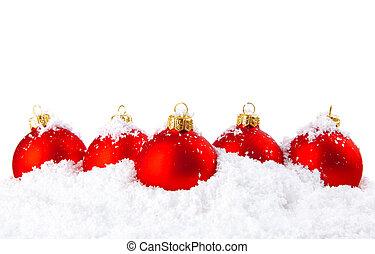 śnieg, puchary, ozdoba, biały, święto, boże narodzenie, czerwony