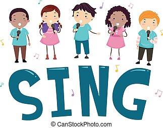 śpiewać, dzieciaki, stickman, ilustracja