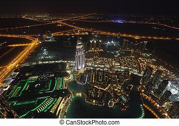 śródmieście, dubai, prospekt, antena, noc