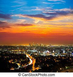 śródmieście, la, anieli, los, sylwetka na tle nieba, zachód słońca, noc, kalifornia