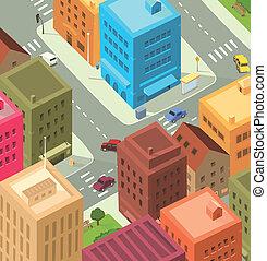 śródmieście, miasto, -, rysunek