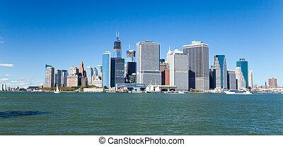 śródmieście, nowy, sylwetka na tle nieba, york, miasto
