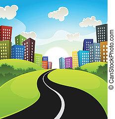śródmieście, rysunek, krajobraz