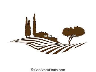 śródziemnomorski, rolny krajobraz, wektor