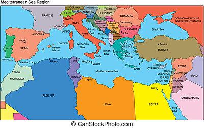 śródziemnomorskie kraje, nazwiska, okolica