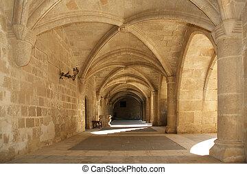 średniowieczny, (palace), rhodes, grecja, rycerze, zamek