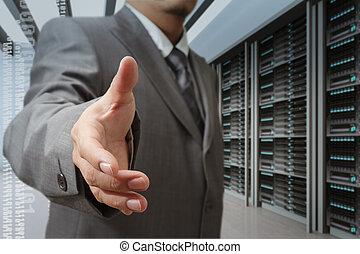 środek, oferta, technologia, ręka, biznesmeni, potrząsanie, dane