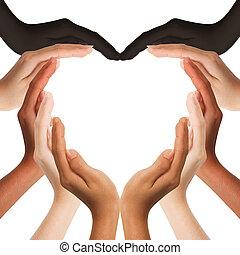 środek, siła robocza, serce, multiracial, zrobienie, formułować, przestrzeń, tło, kopia, ludzki, biały