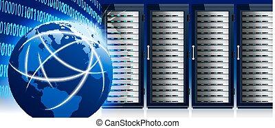 środek, sieć, komunikacja, globalny, urządzenie obsługujące, internet, świat, dane, stojaki, technologia