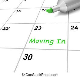 środki, tenancy, ruchomy, nowy dom, kalendarz, albo