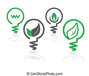 środowisko, lekka zieleń, bulwa, ikony