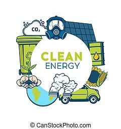 środowisko, recycling, energia, tracić, zielony, czysty