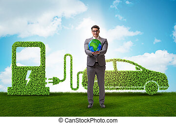 środowisko, wóz, pojęcie, zielony, elektryczny