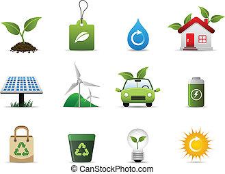 środowisko, zielony, ikona