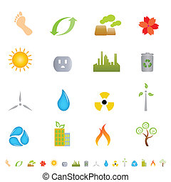 środowisko, zielony, ikony